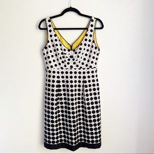 Eliza J Black and White Dot Fit and Flare Dress